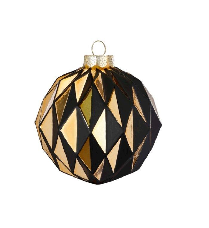 Set van 2 - Glazen diamanten kerstballen zwart en goud 10,5 cm
