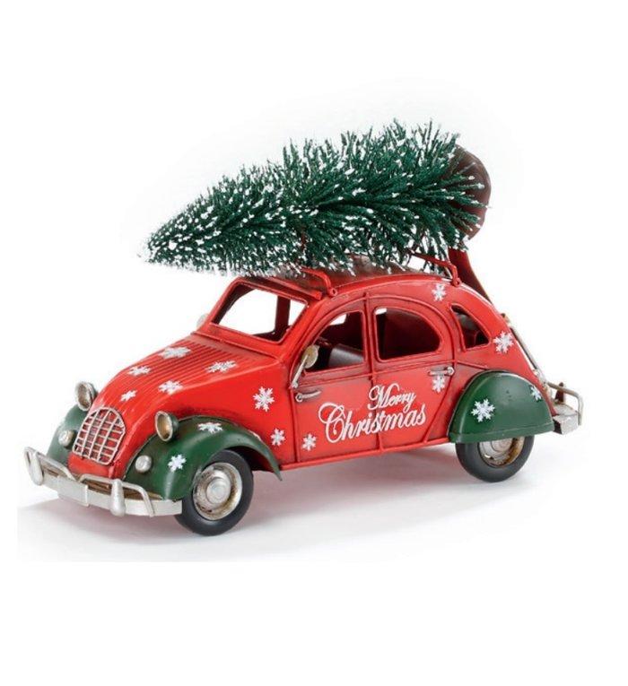 Metalen rode kerstauto met kerstboom op het dak 26 cm