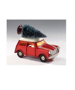 Rode Metalen Kerstauto met Verlichting