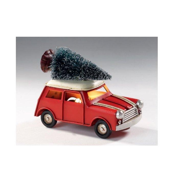 Metalen rood kerstautootje met verlichting  met kerstboom op het dak 11 cm