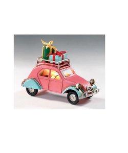 Roze Metalen Kerstauto met Verlichting