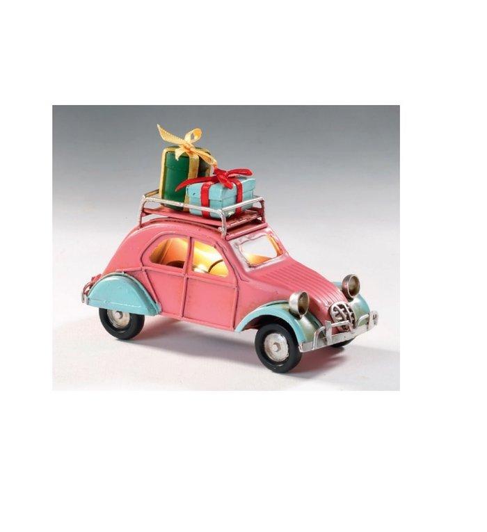 Metalen roze kerstautootje met cadeautjes op het dak 11 cm