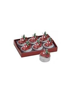 Set van 6 Rode Kerstauto's met Kerstboom Waxinekaarsjes