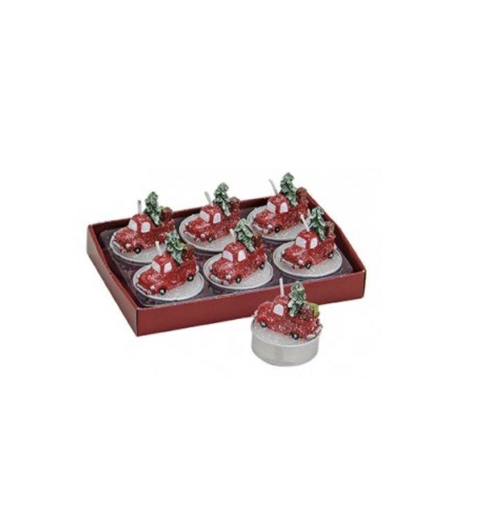 Set van 6  kerstauto's met kerstboom waxinelichtjes kaarsjes