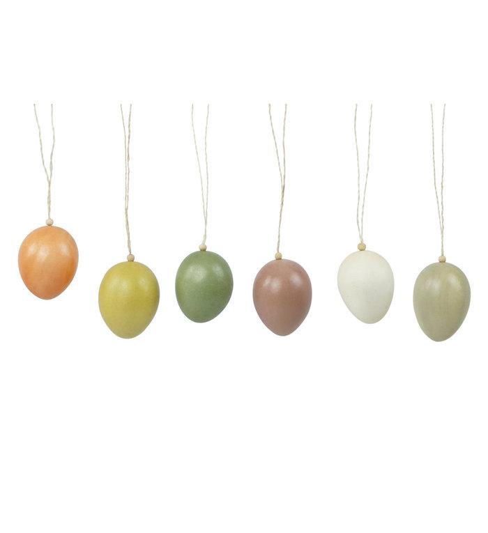 Kinta Clarity pastelkleurige paaseieren van hout set van 6 hangers 4 cm