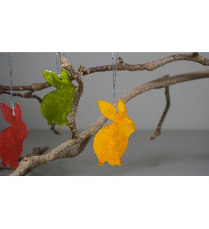 Kinta Process paashaasjes van capiz set van 6 hangers 6,5 cm