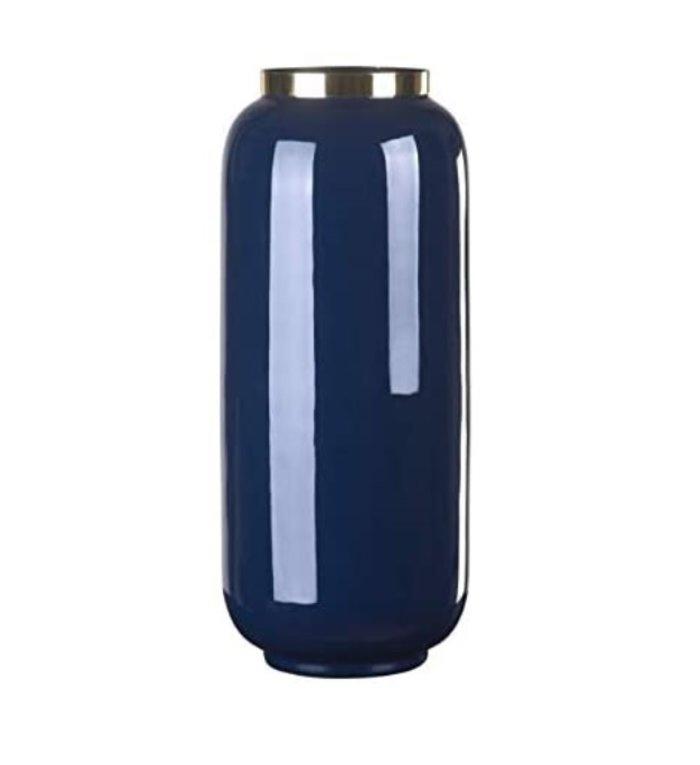 Giftcompany Saigon vaas blauw met gouden metalen rand 30 cm hoog