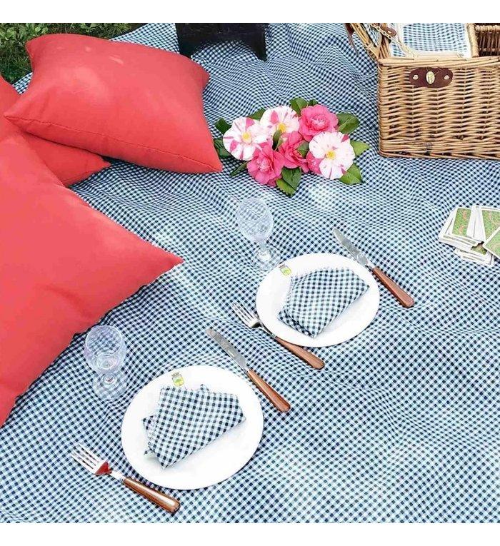 Les Jardins de la Comtesse picknickkleed met donker groene ruitjes 140 x 140 cm