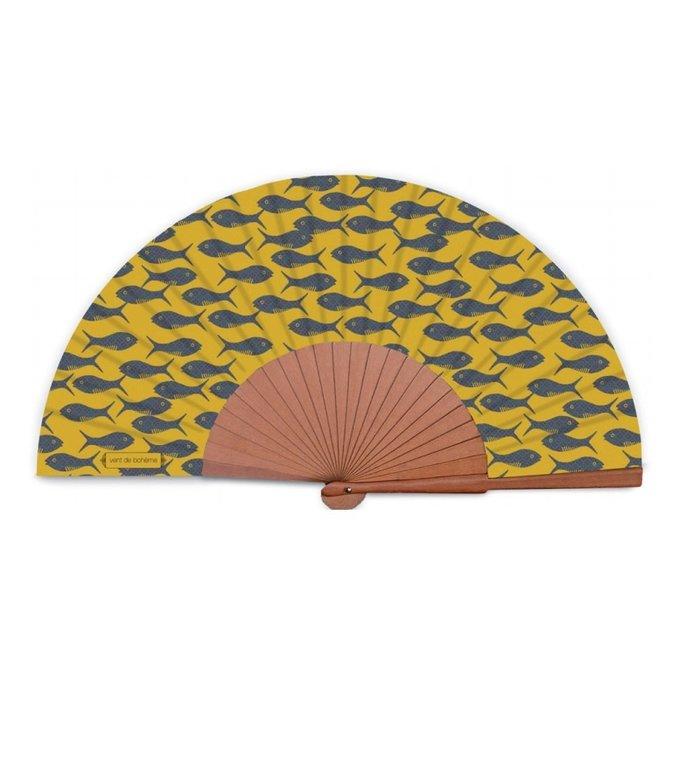 Vent de Bohème  geel- goudkleurige hand waaier Lagon