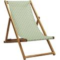 Vent de Bohème  tuinstoel - ligstoel - strandstoel van acaciahout met grafisch groen Lotus design