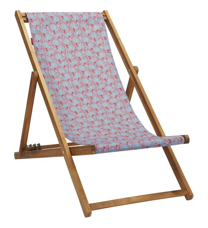Vent de Bohème  tuinstoel - ligstoel - strandstoel van acaciahout met tropisch turquoise design