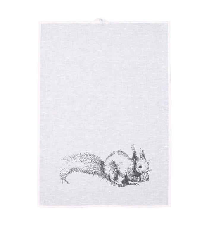 Frohstoff halflinnen theedoek met grijze eekhoorn
