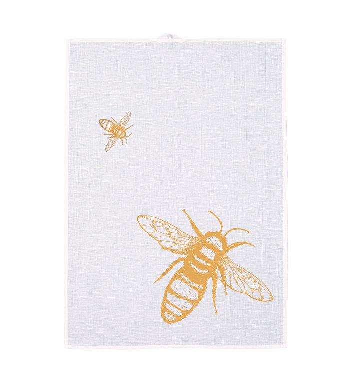 Frohstoff halflinnen theedoek met saffraangele Bijen