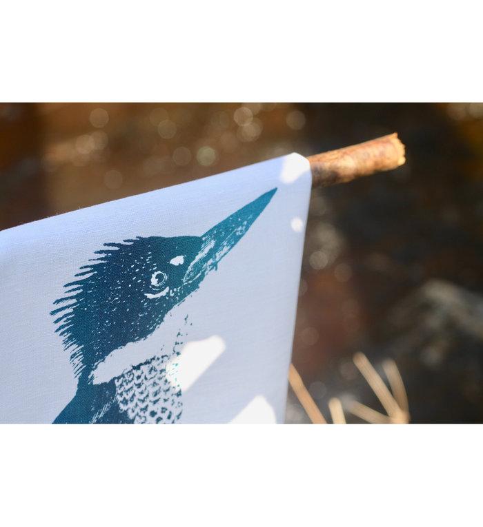 Frohstoff halflinnen theedoek met blauwgroene ijsvogels