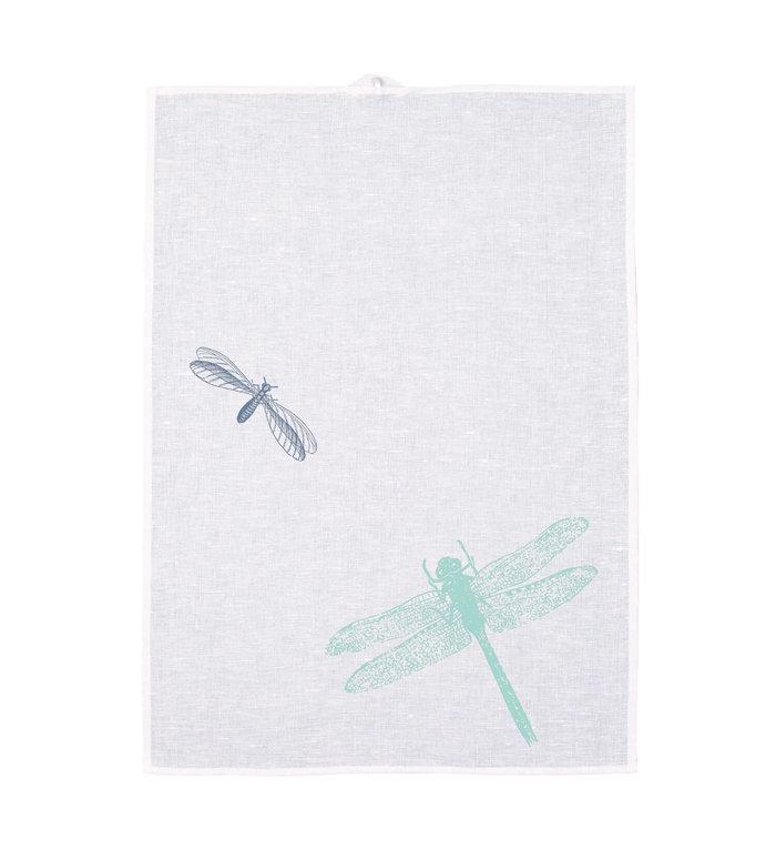 Frohstoff halflinnen theedoek met blauwe en groene libellen