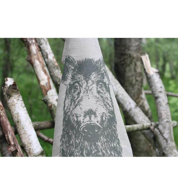 Frohstoff linnen theedoek met olijf grijs wildzwijn