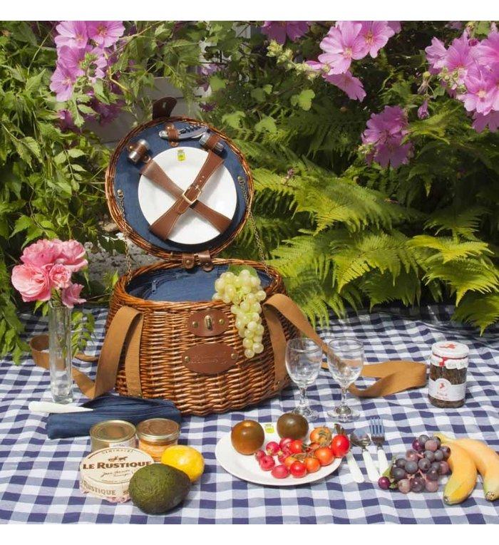 Les Jardins de la Comtesse blauw wit geblokt picknickkleed 280 x 140 cm