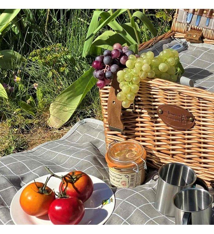 Les Jardins de la Comtesse beige wit geruit picknickkleed  280 x 140 cm