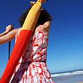 Klaoos Parasol voor het strand Pop-grass rood en mosterdgeel