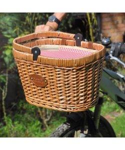 Picknickmand Rood Ruitje  voor op de fiets