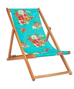 Ligstoel van Acaciahout Hanami Turquoise