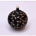 Kerstbal glanzend zwart met gouden blaadjes decoratie 8 cm - set van 3