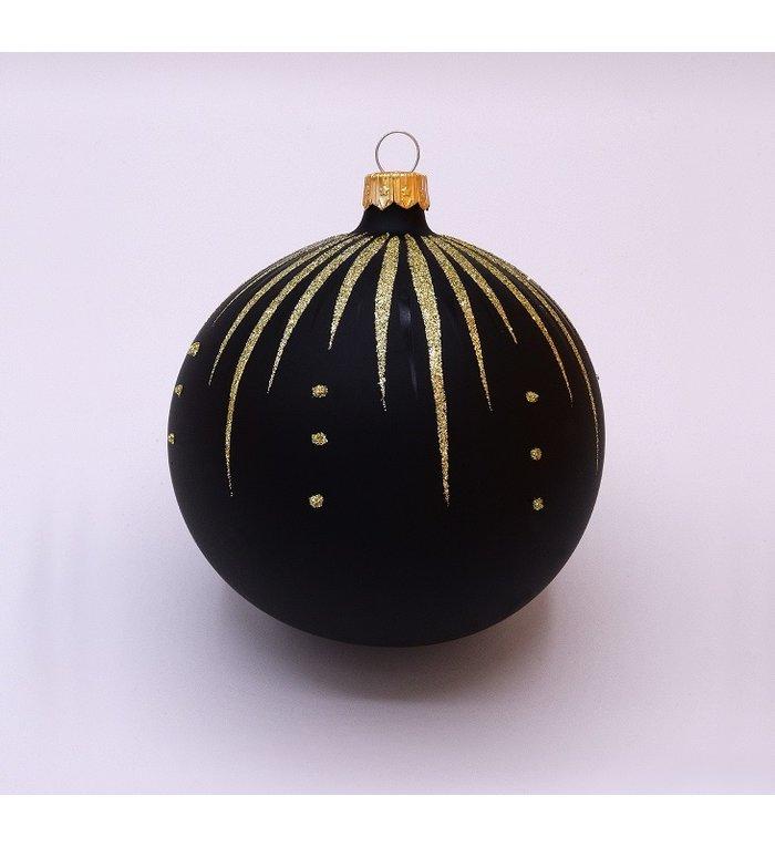 Kerstbal zwart mat met gouden glitter streepjes decoratie 8 cm - set van 3