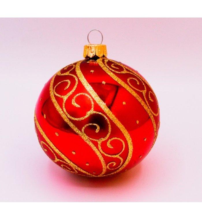 Set van 3 glanzende kerstballen rood met luxe gouden decoratie van glas - 8 cm