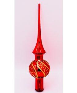 Kerstboom Piek Rood met luxe gouden decoratie