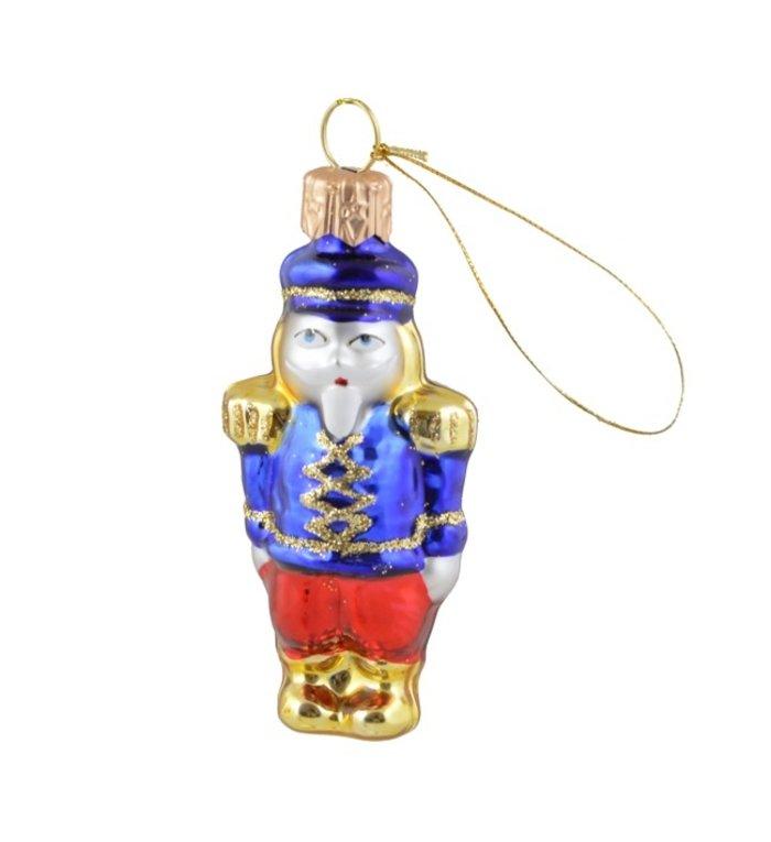 Mini notenkraker blauw - kerstboomdecoratie van glas - 7 cm