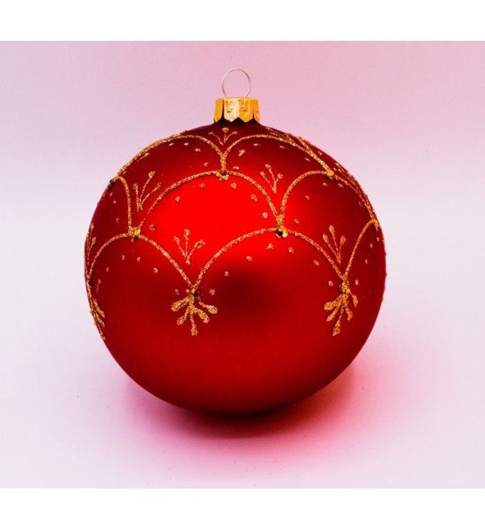 Set van 3 matte kerstballen rood met chique gouden decoratie 8 cm