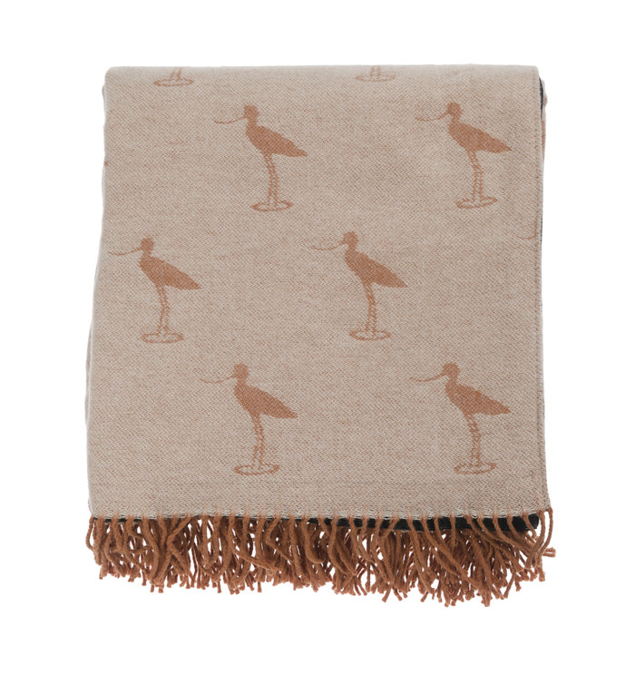Sophie Allport perzikkleurig picknickkleed met kust vogels patroon