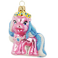 Mini pony roze - kerstboomdecoratie van glas - 7 cm