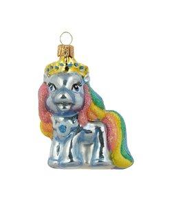 Blauwe Pony met Regenboog Manen Kersthanger 7 cm