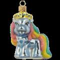 Mini pony blauw met regenboog manen - kerstboomdecoratie van glas - 7 cm