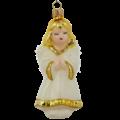 Wit en goud engeltje kerstboomdecoratie van glas  11,4 cm
