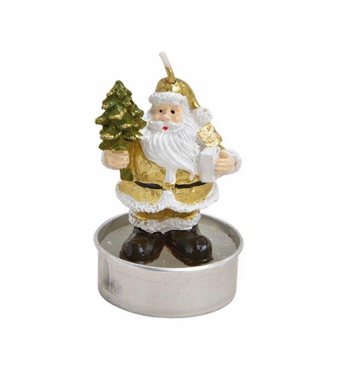 Doosje met 6 met waxinelichtjes gouden kerstman met kerstboom