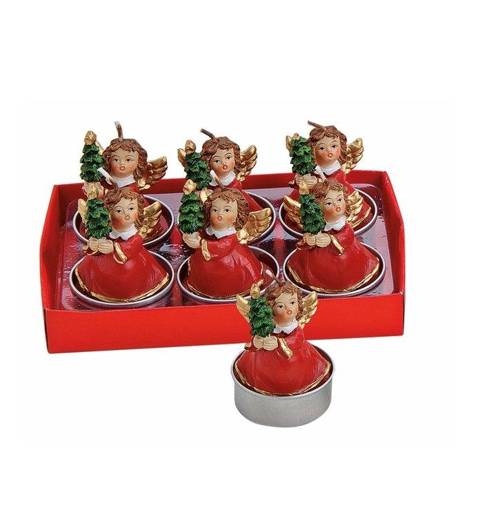Doosje met 6 met waxinelichtjes engeltjes met kerstboom