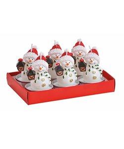 Vrolijke Sneeuwpop Waxinelichtjes - set van 6 kaarsjes