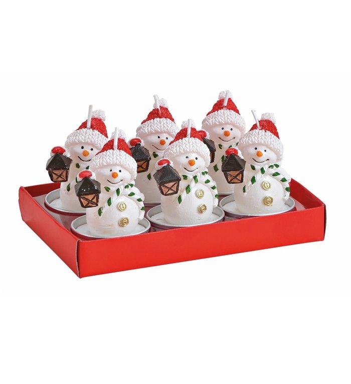 Doosje met 6 met waxinelichtjes sneeuwpop met lantaarntje