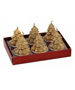 Gouden Kerstboom Waxinelichtjes - set van 6 kaarsjes