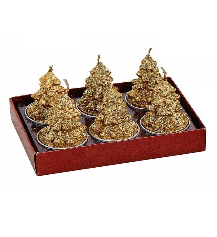 Set van 6  gouden kerstboompjes waxinekaarsjes