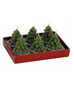Groene Kerstboom Waxinelichtjes - set van 6 kaarsjes