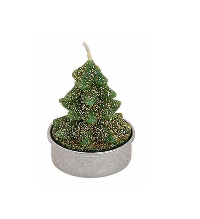 Set van 6  groene kerstboompjes waxinekaarsjes