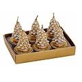 Set van 6  gouden kerstboompjes waxinekaarsjes met sneeuw