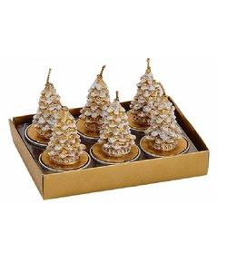 Gouden Kerstboom Waxinelichtjes met Sneeuw
