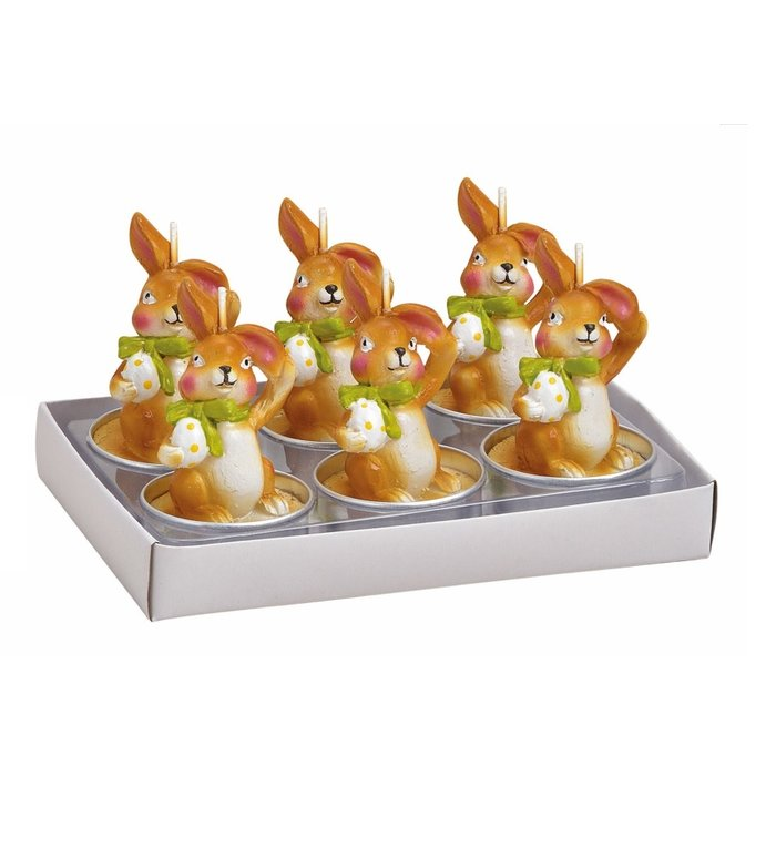 Set van 6 waxine kaarsjes paashaasjes met paasei