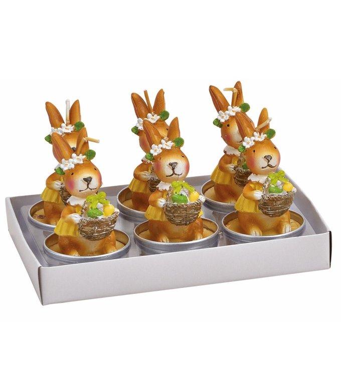 Set van 6 waxine kaarsjes paashaasjes met paasmandje