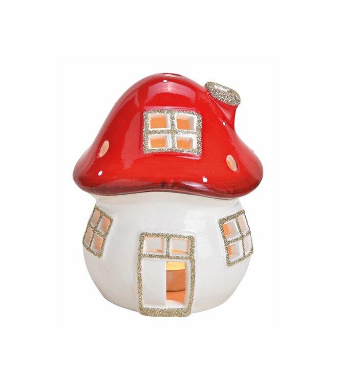Waxinelichtjeshouder van keramiek paddenstoel huisje rood met witte stippen 10 cm