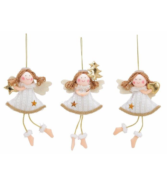 Set van 3 verschillende engeltjes van textiel kerstboomhangers 15 cm